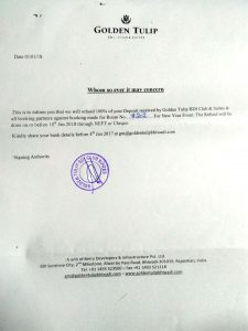 Refund Commitment Letter by Golden Tulip Bhiwadi